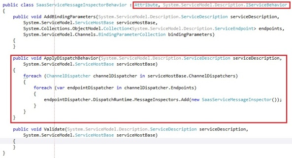 Attach wcf message inspector by IServiceBehavior