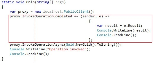 Asynchronous WCF client with lambda expression