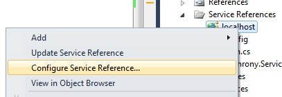 Configure service reference