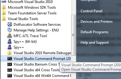 Visual studio 2010 commandline SDK