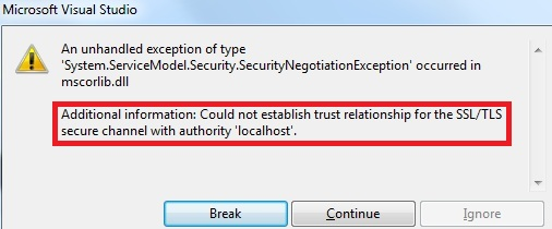 Could not establish trust relationship for the SSL/TLS secure channel with authority