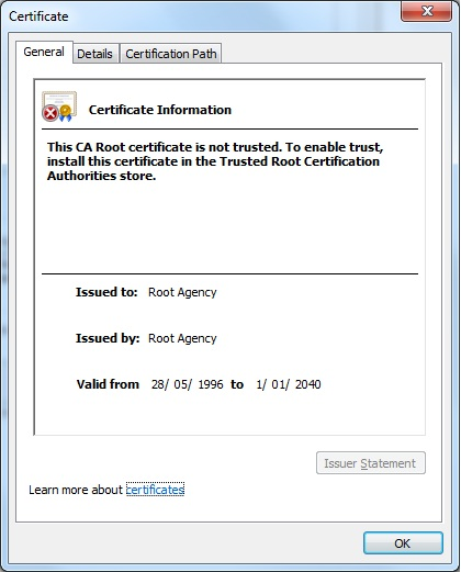 Install root authority certificate