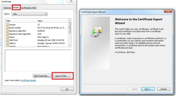 Export self-signed certificate