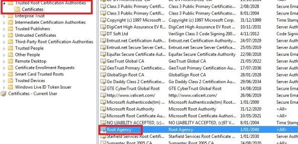 Trusted root certification authority for self-signed SSL certificate