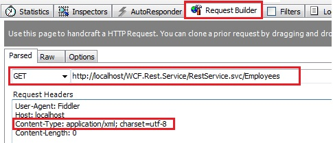 WCF REST service Fiddler application/xml content-type