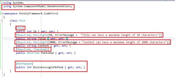 Entity Framework Code First Data Annotations