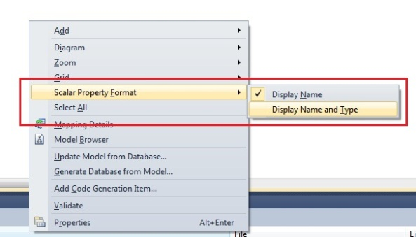 Entity Framework viewing type of properties in model