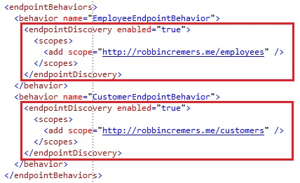WCF Discovery endpointDiscovery with scope