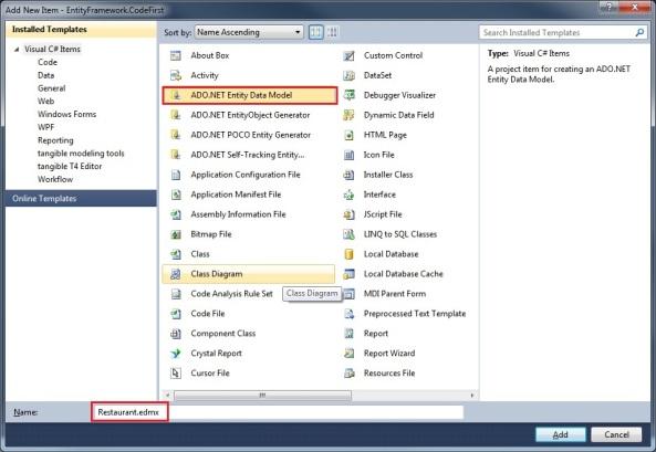 Entity Framework ADO.NET Entity Data Model