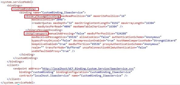Client configuration WCF custom binding