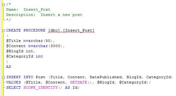 SQL Server stored procedure insert