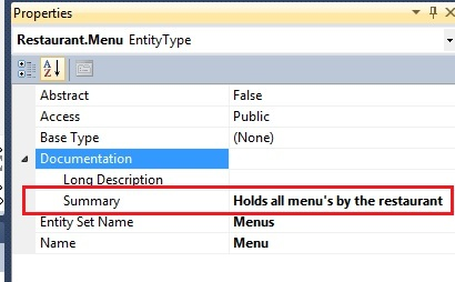 Entity Framework documentation entity