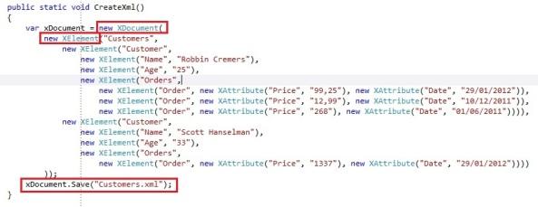 LINQ to XML create new document