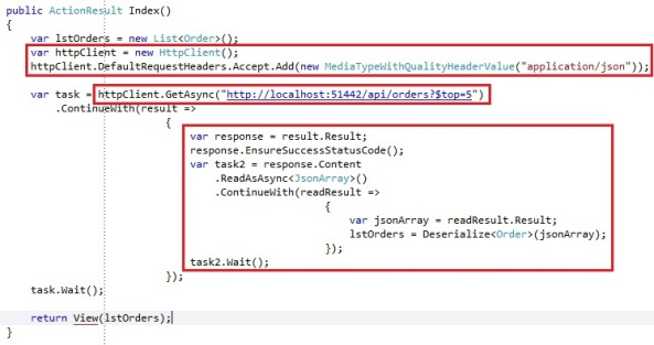 ASP.NET Web Api consuming api service with HttpClient