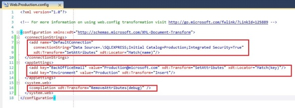 Using web.config transformations to manage configuration for different environments